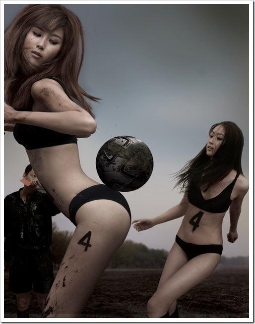 beautiful-asian-bikini-girls-playing-football-in-mud