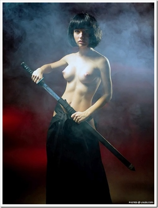 hot nude girl with katana