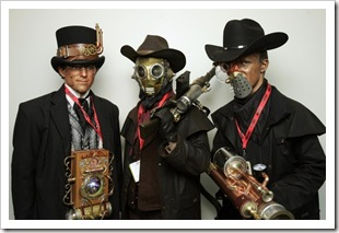 Triplets Mitchell Brose, left, Casey Brose and Ben Brose of Phoenix dressed in steampunk costumes of their own creation at Comic-Con in San Diego on Thursday. (K.C. Alfred/Union-Tribune)