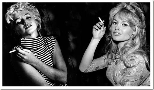 marilyn and bardot smoking