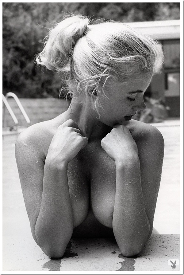 sexy blonde by the pool
