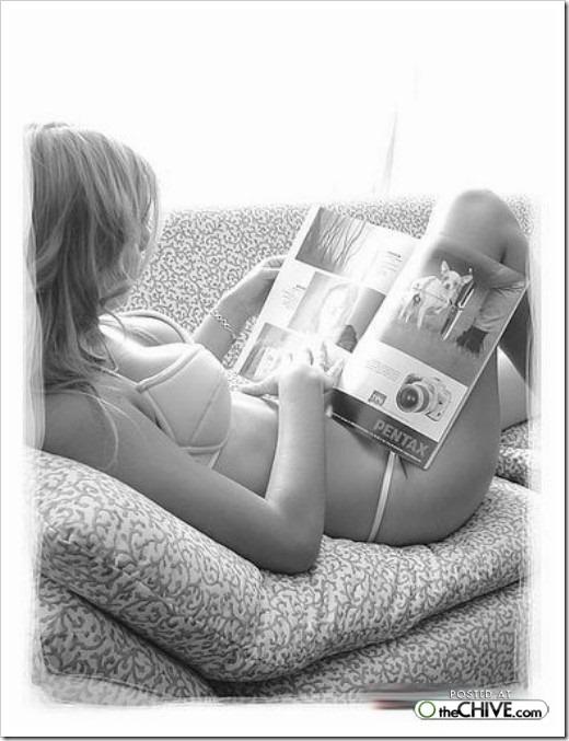 nude girl  reading