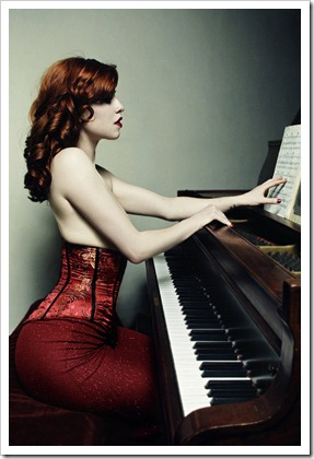 sexy pinup girl by the piano
