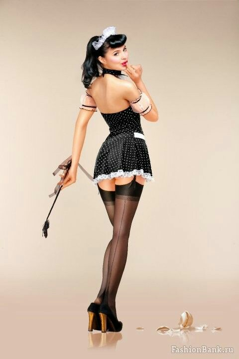 Sexy pinup little black dress stock photo